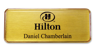 Executive Metal Badges - Gold border and brushed gold background | www.namebadgesinternational.us
